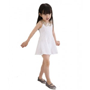 Kid Lovely Sequins Collar Sleeveless Vest Girls Princess Lace Dress