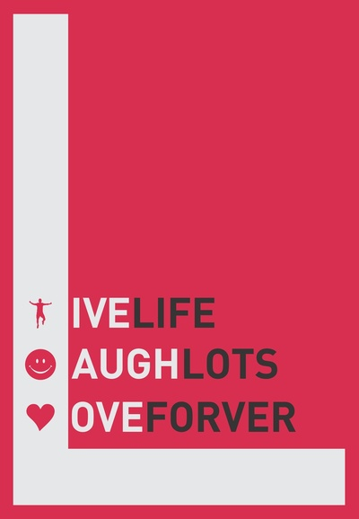 Live, laugh, love Quote, a beautiful Typography Poster on Stretched Canvas by Lab No. 4