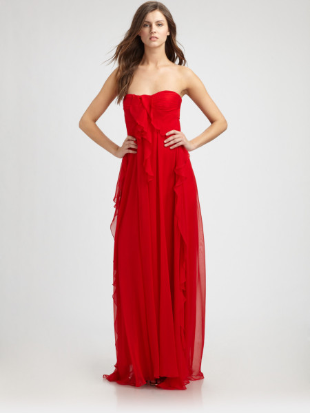 Mark + James By Badgley Mischka Silk Chiffon Gown in Red | Lyst