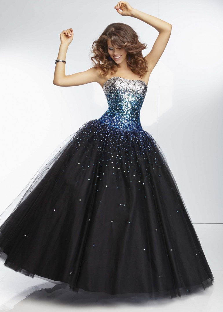 Mori Lee 95128 – Black, Turquoise Strapless Dress – RissyRoos.com