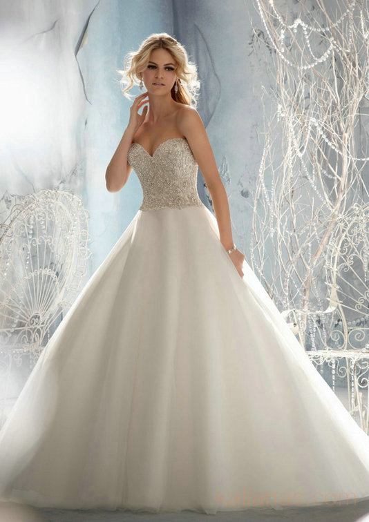 wedding Photo – style 363.00 mori lee 1952 Crystal Beaded Embroidery on Tulle For you,Illu ...