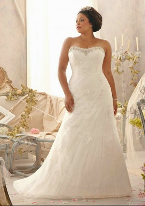 wedding Photo – style 337.00 mori lee 3152 Embroidered Lace Appliques on Net over Chantill ...