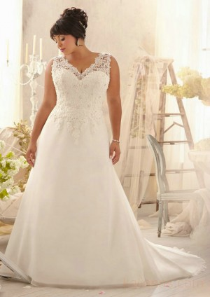 wedding Photo – style 364.00 mori lee 3153 Alencon Lace Appliques on Delicate Chiffon For  ...