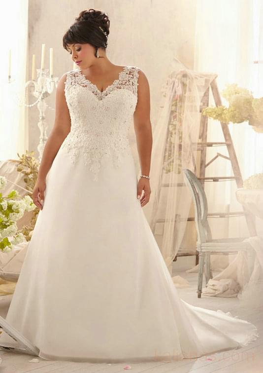 wedding Photo – style 364.00 mori lee 3153 Alencon Lace Appliques on Delicate Chiffon For  ...