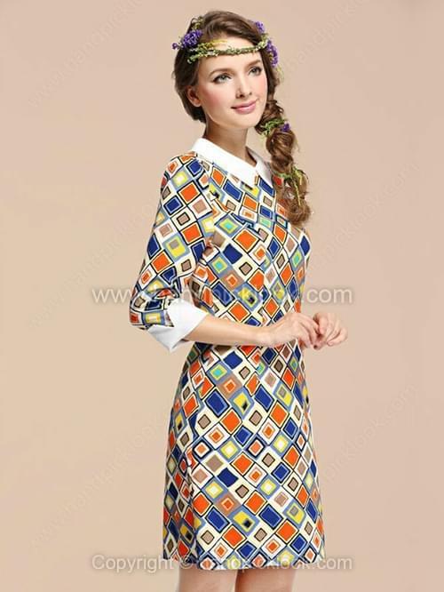 Multicolor Contrast Lapel Three Quarter Length Sleeve Geometric Print Dress