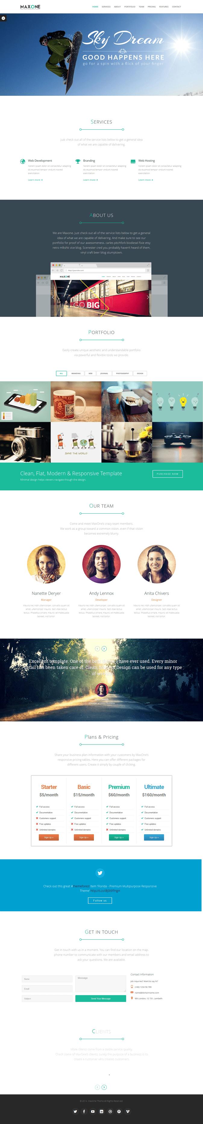 MaxOne is a Responsive, Retina-Ready One-page #WordPress theme with a minimalist, simple, #elega ...