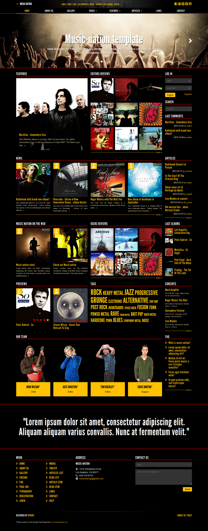 Music-nation is a perfect template for music, culture, cinematic, games and events websites.