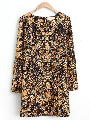 Navy Long Sleeve Vintage Floral Straight Dress for HPL – Msdressy.co.uk
