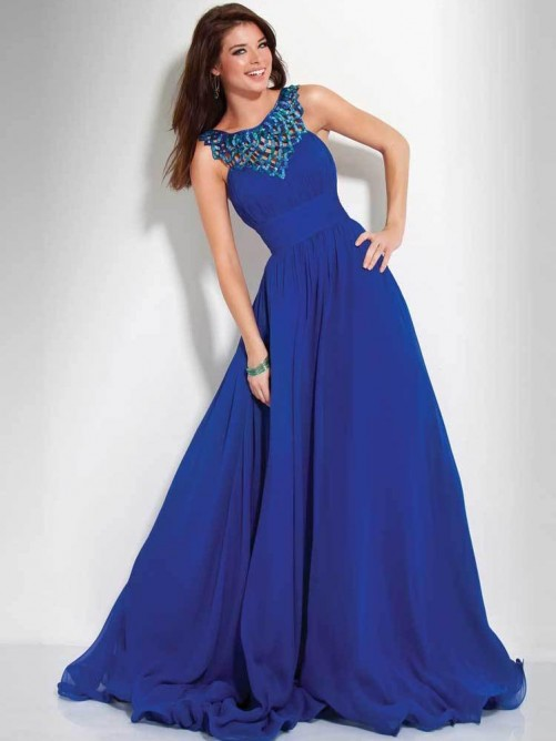 New Slim Empire A-line Royal Chiffon Long Dresses