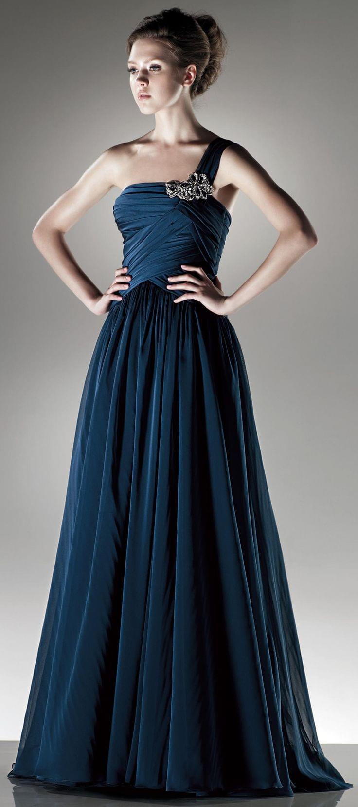 One shoulder A line chiffon dress   & Her   Pinterest