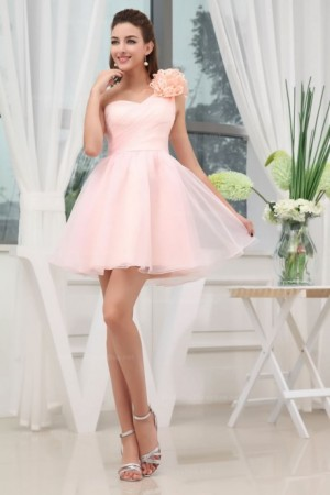 One Shoulder Fully Pleated A Line Organza Short Length Prom Dress |  WeddingDressBee