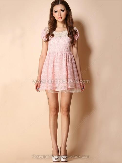 Pink Short Sleeve Crochet Collar Embroidered Flowers Dress
