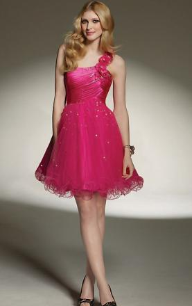Pink Tulle A-line One Shoulder Short/Mini Dress(LFNAC1370)|KissyDress UK