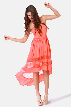 Pretty Coral Dress – Lace Dress – High-Low Dress