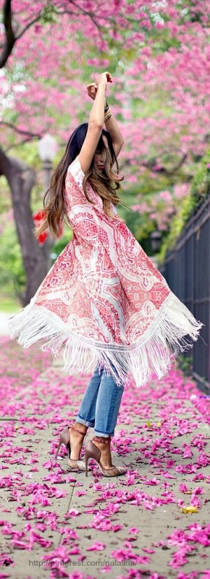 Pretty summer dress over jeans