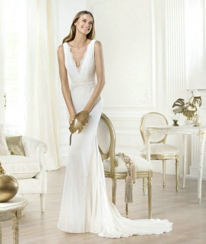 wedding Photo – style 358.00 bridal gown – Style pronovias Lamero V-Neck Crystal Emb ...