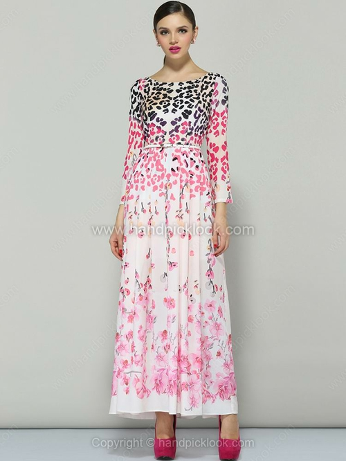 Red Long Sleeve Floral Pleated Full Length Dress