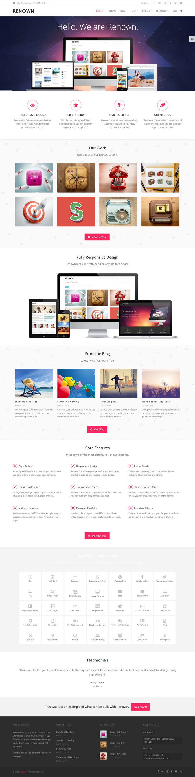 Renown is a next generation multipurpose WordPress theme.   With a built-in Page Builder, our ve ...