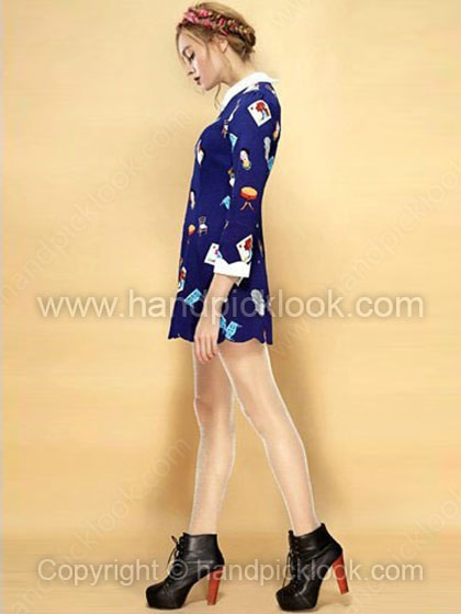 Royal Blue Contrast Lapel Three Quarter Length Sleeve Chair Print Dress