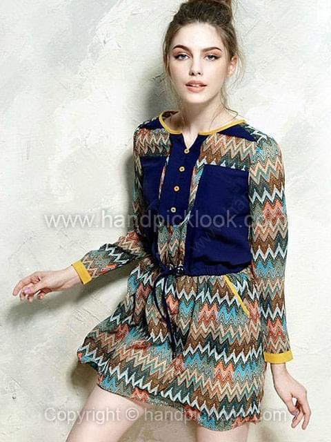 Royal Blue Long Sleeve Belt Dress