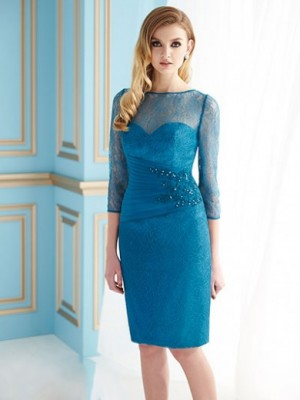 Royal Blue Sheath/Column Jewel 3/4 Sleeves Knee-length Chiffon Dresses for $585.00 – fairy ...