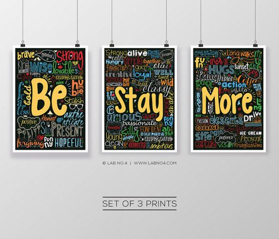 "Set of 3 Posters ""BE STAY MORE""by Lab No. 4"