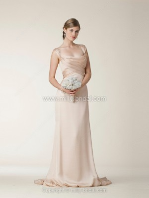 Sheath/Column Off-the-shoulder Elastic Woven Satin Court Train Criss Cross Wedding Dresses