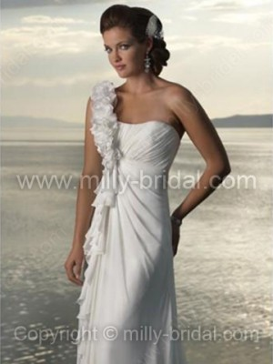 Sheath/Column One Shoulder Chiffon Court Train Flower(s) Wedding Dresses