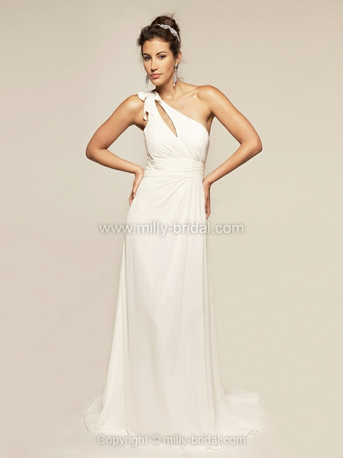 Sheath/Column One Shoulder Chiffon Satin Sweep Train Ruffles Wedding Dresses
