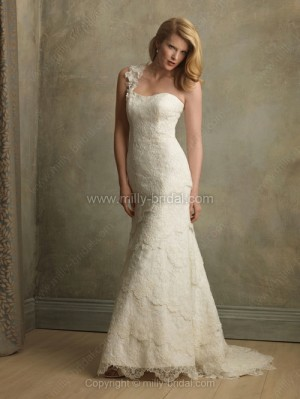 Sheath/Column One Shoulder Lace Satin Sweep Train Ivory Tiered Wedding Dresses