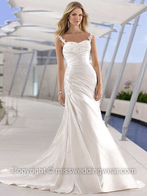 Sheath/Column Spaghetti Straps Satin Sweep Train Ivory Appliques Wedding Dresses