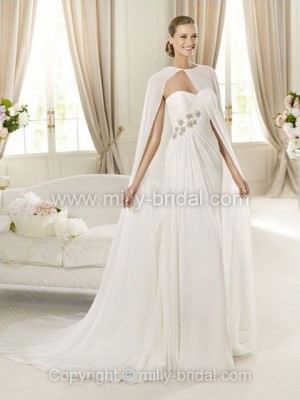 Sheath/Column Sweetheart Chiffon Court Train Beading Wedding Dresses