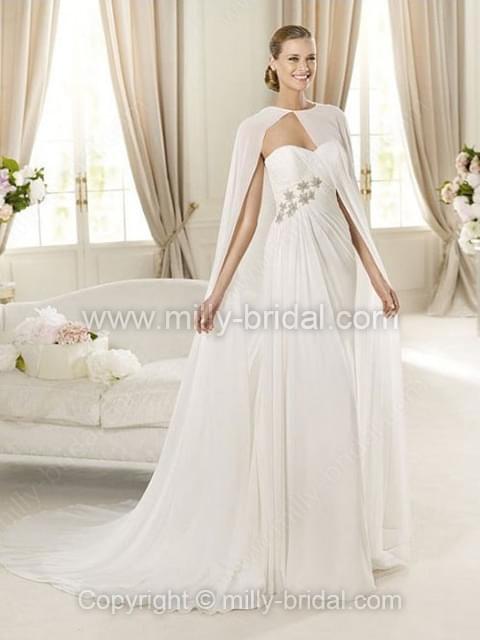Sheath/Column Sweetheart Chiffon Court Train Beading Wedding Dresses