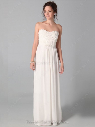 Sheath/Column Sweetheart Chiffon Floor-length Flower(s) Prom Dresses at pickedlooks.com