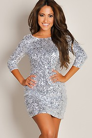 Shimmering Silver Glam Half-Sleeve Sequin Party Dress
