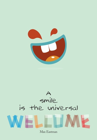 Max Eastman Smile Quote, Typography Poster on Stretched Canvas by Lab No. 4