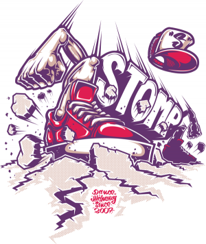 STOMPING STOMP – T-shirt print for Stomp (dance academy).