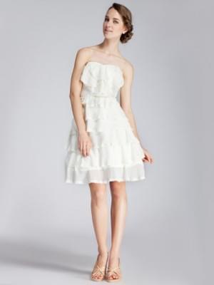 Strapless Layered Lace Little White Dress    WeddingDressBee
