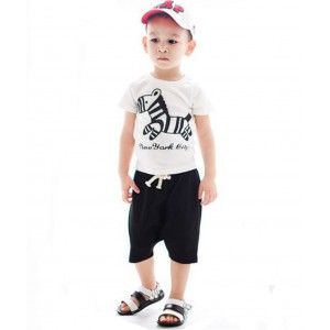 Summer Children's Clothing Set Trojans Boys Short-sleeve Two-piece Suit with Zebra Print