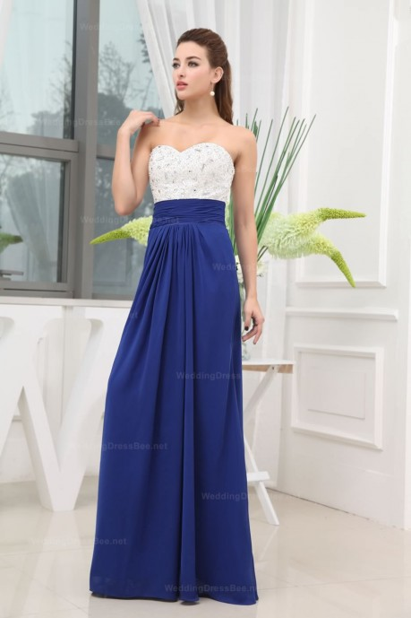 Sweetheart Full Beaded Bodice Chiffon Floor Length Skirt Dress  | WeddingDressBee