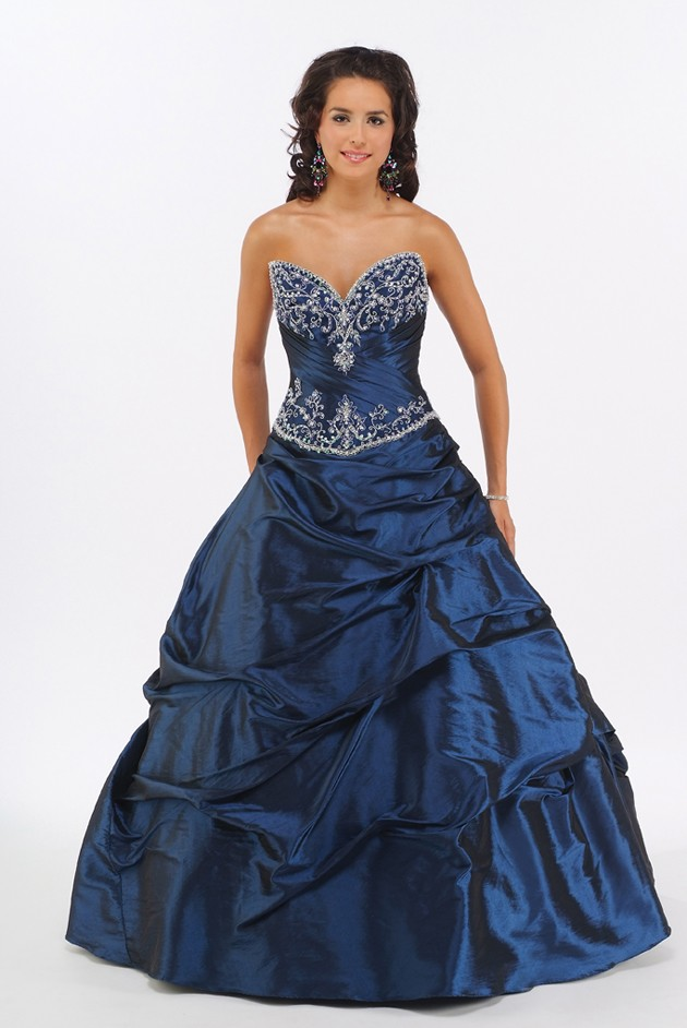 Sweetheart Navy Quinceañera Dress Sweet Sixteen Dress