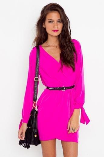 Tied Wrap Dress – Fuchsia