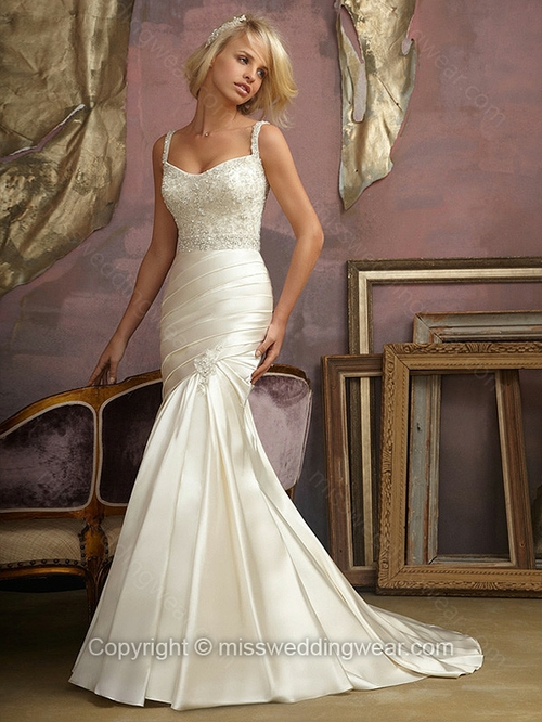 Trumpet/Mermaid Spaghetti Straps Satin Sweep Train Ivory Beading Wedding Dresses