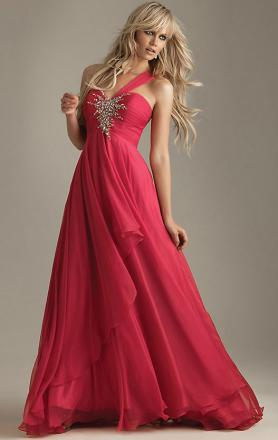 Watermelon Chiffon A-line One-shoulder Empire Long Prom Dress(LFNAE0023) KissyDress UK