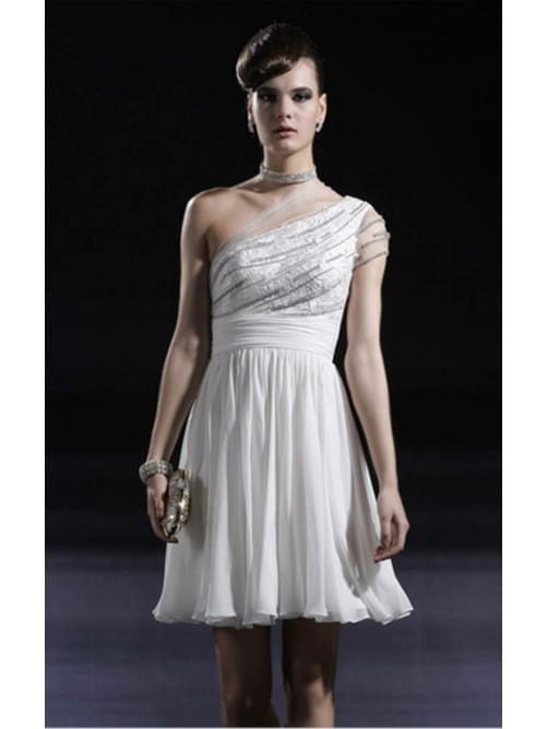 White A-line Short One Shoulder Dress
