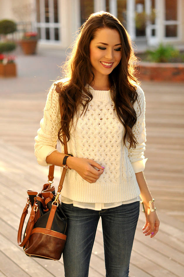 White Cut Out Cable Knit Jumper