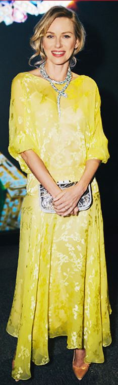 Who made  Naomi Watts' jewelry and yellow gown? «  OutfitID