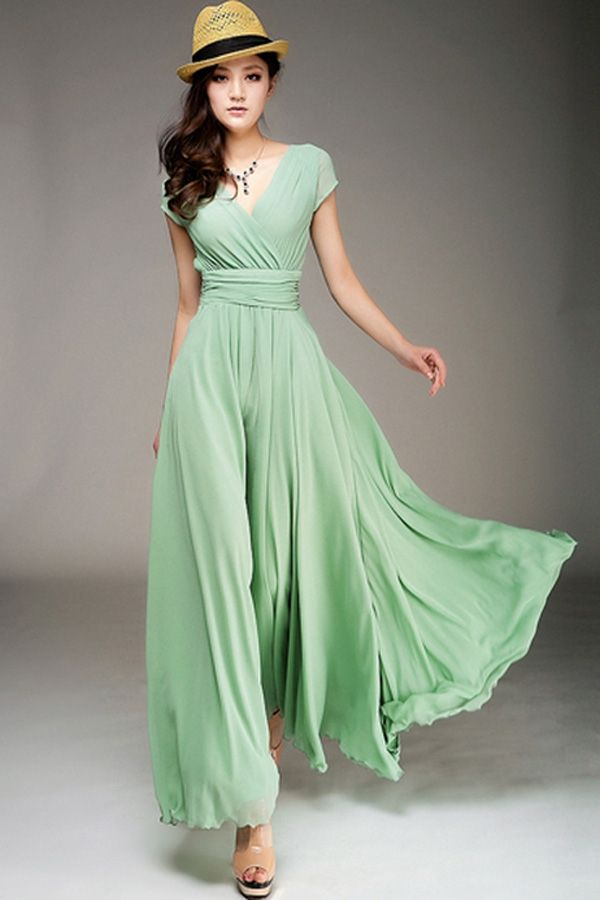 Wrapped V-neck High Waist Maxi Dress | Kels | Pinterest
