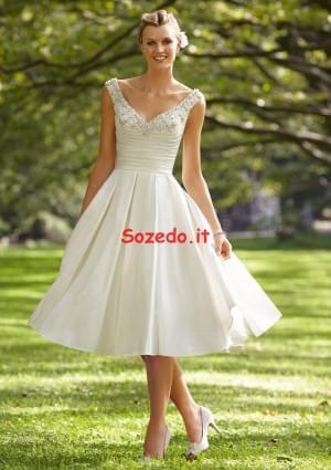 Al ginocchio Taffeta Trapezio Senza Spalline Abiti Da Sposa – Sozedo.it