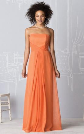 A-line Strapless Floor Length Orange Vintage Bridesmaid Dress Online(BNNAD1075)|KissyDress UK